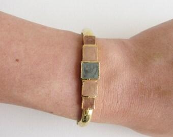 Pastel Enamel Modernist Vintage Clamper Bracelet with Squares