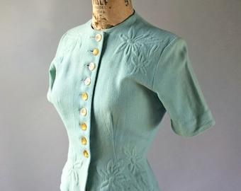 Minx Modes Vintage 1940s Aqua Blue Woven Short Sleeve Wool Blouse Faceted Buttons