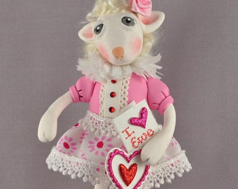 Little Lamb Valentine's Day Figurine, Polymer cCay Art Doll
