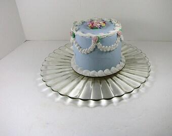 Vintage SUNFLOWER CAKE PLATE Scallop Rim Sunburst Glass Cupcake Pastry Display Tart Stand