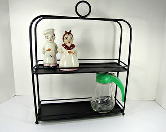 Vintage BLACK METAL SHELF Standing Rack Bath Kitchen 2 Shelves with Guards Storage
