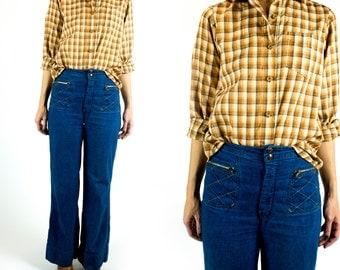 Vintage 1970s Paper Thin Wood Button Rust Orange Brown White Plaid Boyfriend Button Down Shirt Size XS Extra Small