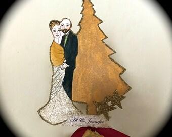 Wedding Cake Topper - Custom Illustrated - Hand Painted