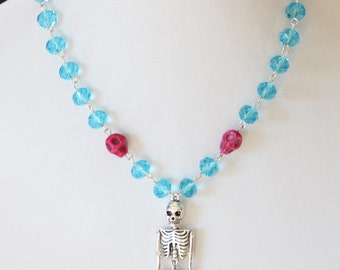 Creatures of the Dark Mermaid Skeleton Beaded Necklace