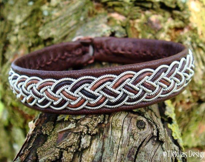 Vikings and Shieldmaidens Brown Leather Cuff Bracelet FREKI Custom Handmade Piece of the North Sami Folklore