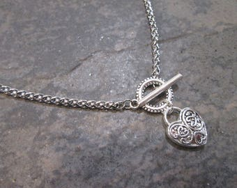"""Padlock heart silver filigree necklace with foxtail chain and toggle clasp 18"""" toggle necklace"""
