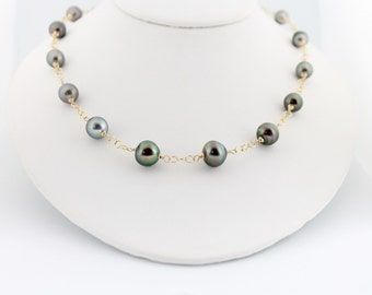 Tahitian pearl necklace, tin cup, chunky, large saltwater, black pearls, handcrafted, gold: Simply Adorned