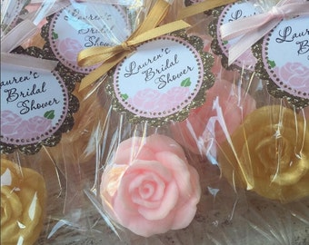 30 ROSE SOAP FAVORS - Rose Bridal Shower Favors, Soap Roses, Wedding Soap Favors, Cottage, Valentine's Day, Mothers Day, Kate Spade Inspired