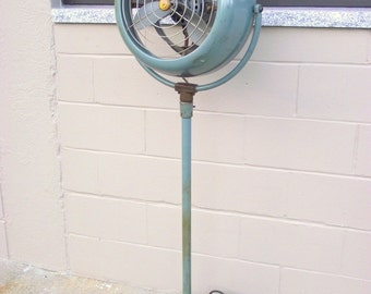 Atomic Mid Century Vornado Floor Fan - Pedestal Fan Industrial Shop - Turquoise - Electric American Retro Steel Age