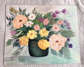 Vintage Painting, Original Painting, Acrylic, Flowers, Still Life, Pastel, Floral, Garden, Hand Painted, Yellow, Peach, Grey, Living Room