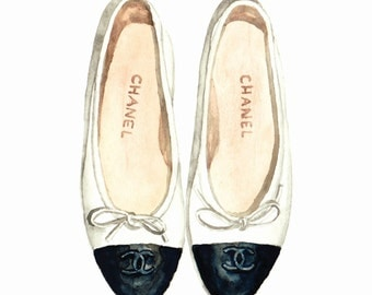 Chanel Ballet Flats Classic - Giclee Print of Original Watercolor - Fashion Illustration Coco Quotes Double C Vintage Paris Black White