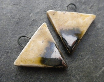 Horizon- handmade ceramic tribal triangle bead pair straw and metallic earring charm pair 3723