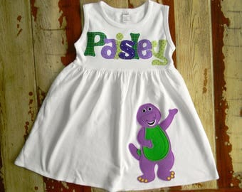 Barney Personalized Dress, Short, Sleeveless or Long Sleeved, 3-6m to 8yrs