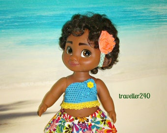 "Handmade Doll Clothes ""Island Floral"" Top, Skirt and Headband for 15"" Disney Toddler Moana Doll, in Sparkling Ocean Blue by traveller240"