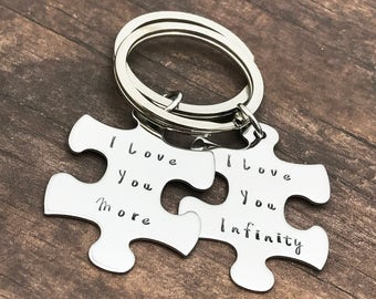 I love you more, I love you infinity, Couple Keychains, Couples Gift, Anniversary Gift, Puzzle piece keychains, Gift for couples, Non Custom