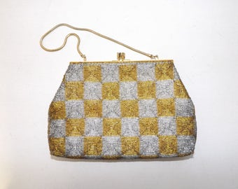 Vintage 1950s beadwork heavily beaded evening handbag purse clutch bag silver and gold