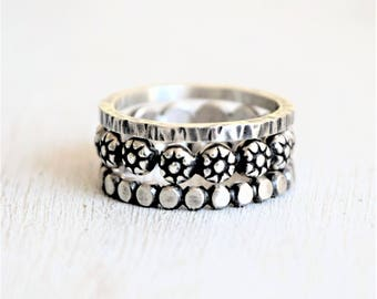 Sterling Silver Boho Ring Stack - Daisy RIng - Flattened Ball Bead Ring - 14 Gauge Square Hammered Band - Metalwork