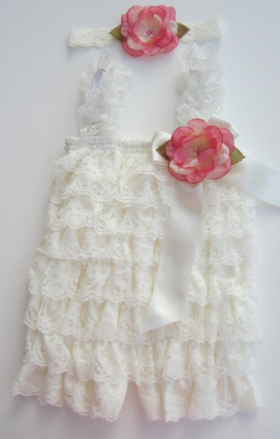 Ivory Lace Ruffle Romper with Removable Flower AND/OR Matching Headband - for newborn photos, photo prop, newborn, Lil Miss Sweet Pea