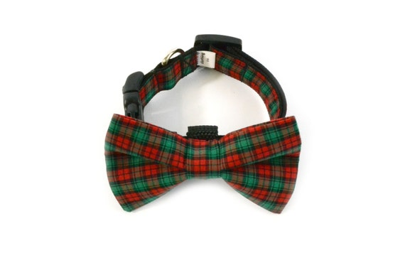 Red Green Plaid X-mas Christmas Holiday Bow Tie and Collar
