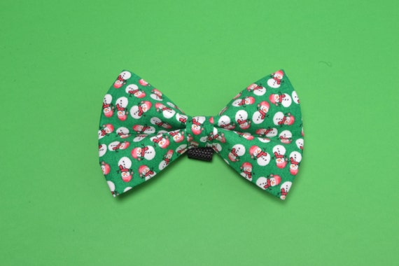 Christmas Green Snowman Holiday Dog Bow Tie