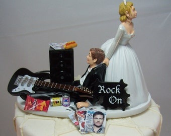 NEW No more ROCKIN Black/White Electric GUITAR Funny Wedding Cake Topper Rockstar Rocker Bride and Groom Rock n Roll Groom with Amp.