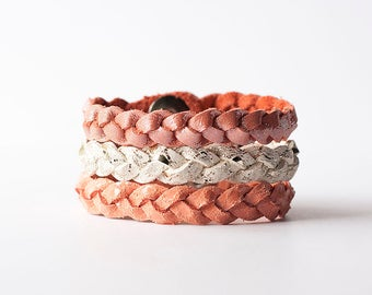 Braided Leather Bracelet Trio / Peachy Keen