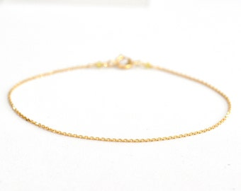 18K Gold. Yellow Diamond Bracelet, Delicate chain Bracelet, Delicate Gold Bracelet, April Birthstone Jewelry, 18k gold bracelet