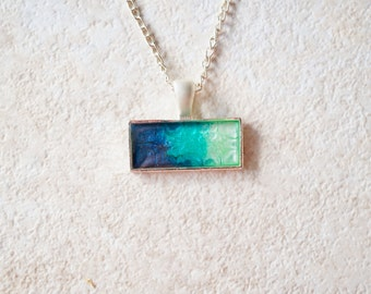Resin Necklace in Blue Teal and Mint Ombre Painted Marble