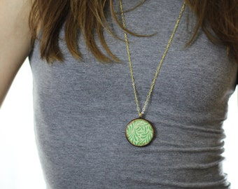Green Leaf Wood Pendant Necklace // Gold Plated Long Chain // Gift for Her