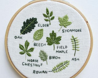 Embroidery Pattern - PDF Download - British Garden Trees - 4 inch Hoop - Digital Download