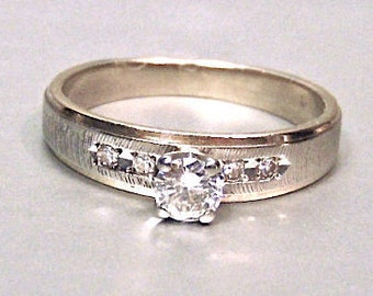 Sale! 14K Diamond Solitaire Engagement Ring, White and Yellow Gold