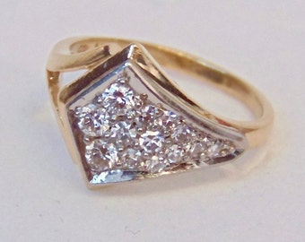 14K Diamond Cluster Ring in Yellow Gold and White Gold, Vintage, Diamond Band, Pinky Ring