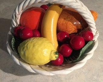 Capodimonte Bright Ceramic Fruit Basket, Italy