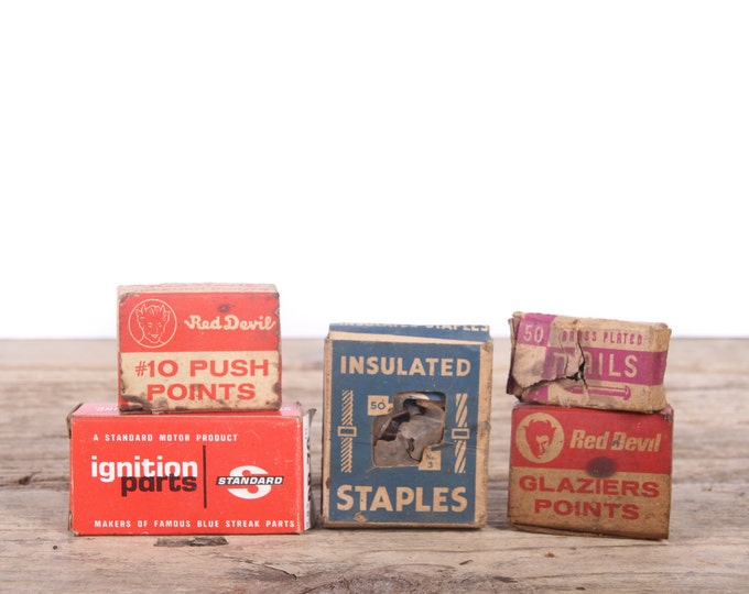 Vintage Nail Boxes / Old Hardware Nail & Staple Boxes / Red Devil Push Points / Standard / Telephone Insulated Staples / Antique Tools Decor