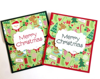 Christmas Santa Gift Card Holder Set - Holiday Gift Card Holder - Christmas Money Holder - Gift Card Envelope - Handmade Christmas Gift