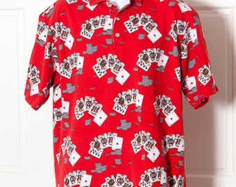 Vintage 90s Polo Shirt - TABASCO - playing cards poker chips - XL