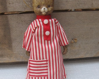 Vintage Porcelain Bear Ornament, Richway, Made in Taiwan, Bear Red Striped Nightshirt, Collectible Christmas Decor, Tree Decoration