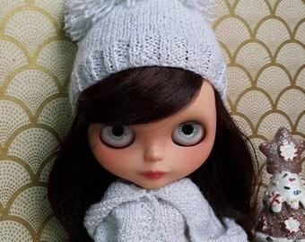 White and Silver Pom Pom Blythe Hat