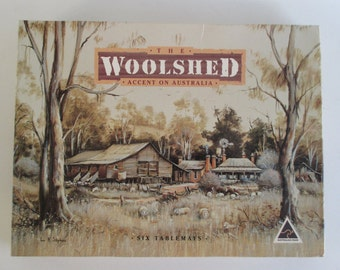 Tablemats by The Woolshed, Vintage Australian Bush Scenes Painted by George Phillips Made in Australia Outback