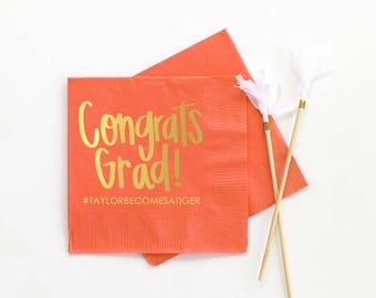 Personalized Graduation Napkins Graduation Party Supplies Personalized Beverage Napkins 2018 Graduation Decoration Ideas Grad Party Napkins
