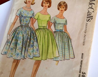 McCall's 5852 Misses Vintage Sewing Pattern - Size 12 -Scoop Neck Dress Shirtwaist Gathered Skirt - Classic Summer 60's Style