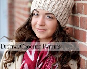 Crochet Pattern / Chunky Cross Stitch Beanie Hat Pattern 037 / Crochet Hat Pattern / Women's Slouchy Hat  / Slouchy Beanie / Fall Fashion