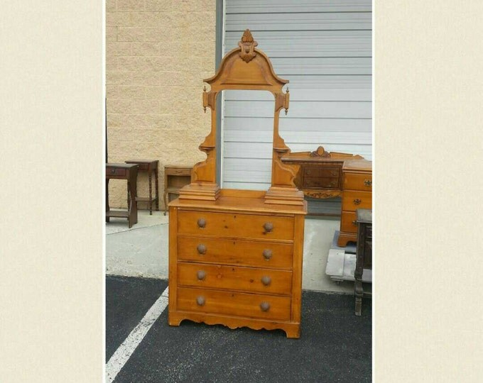 Vintage Dresser Shabby chic chest, PICK UP ONLY painting included, antique rustic farrmhouse bureau, distressed chest of drawers, painted