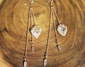 Rose Gold Arrowhead Earrings with Feather Charms