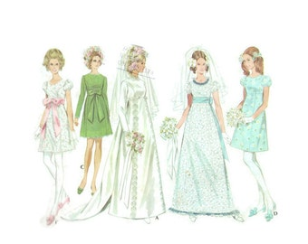 1960s MCCALL'S 9652 Women's vintage wedding dress bridal prom DIY  empire line regency  inspired Paper Pattern 60s Bust 34