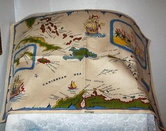 Vintage West Indies Map Linen Kitchen Dish Tea Towel Only 9 USD