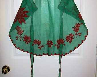 Vintage Red Flocked Green Organza Christmas Hostess Half Apron Only 8 USD