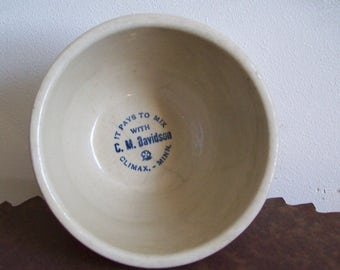 Antique Red Wing Pottery advertising bowl grey line sponge band Climax Minn MN C M Davidson 1902 -1920