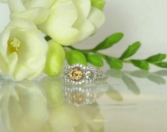 Zircon Ring, Diamond Alternative, Three Stone Ring, Herkimer Diamond Ring, Yellow Zircon Ring, Zircon Sterling Ring, Natural Gemstone Ring