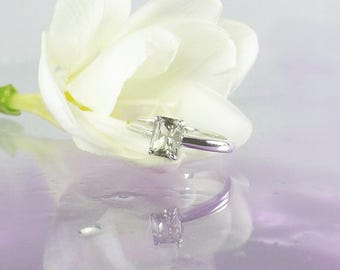 Herkimer Diamond Ring, Engagement Ring, Solitaire Engagement Ring, Emerald Cut Ring, Conflict Free Ring, Natural Diamond Alternative, Ring